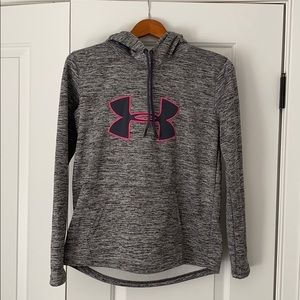 Grey and pink underarmour hoodie